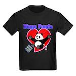 Bingo Panda Neon Heart Kids Dark T-Shirt