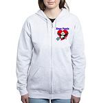 Bingo Panda Neon Heart Women's Zip Hoodie