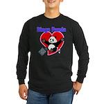 Bingo Panda Neon Heart Long Sleeve Dark T-Shirt