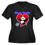 Bingo Panda Neon Heart Women's Plus Size V-Neck Da