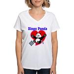 Bingo Panda Neon Heart Women's V-Neck T-Shirt