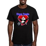 Bingo Panda Neon Heart Men's Fitted T-Shirt (dark)