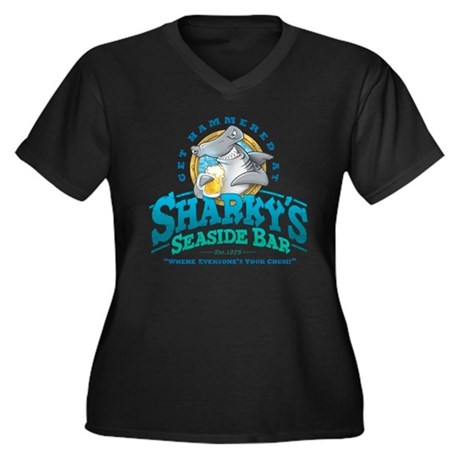 Sharky's Seaside Bar Women's Plus Size V-Neck Dark