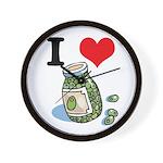 I Heart (Love) Green Olives Wall Clock
