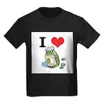 I Heart (Love) Green Olives Kids Dark T-Shirt