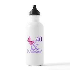 40th Birthday Butterfly Water Bottle