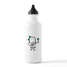 Girl & Teal Ribbon Water Bottle