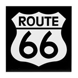 Route 66 Highway Sign Biker Tile Coaster