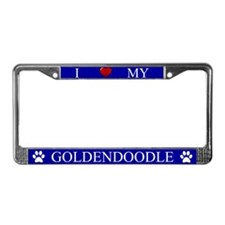 Blue I Love My Goldendoodle License Plate Frame