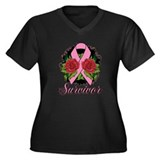 Breast Cancer Rose Tattoo Women's Plus Size V-Neck