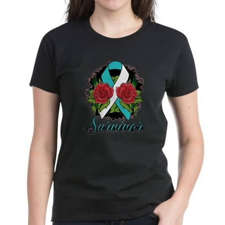 Cervical Cancer Rose Tattoo Women's Dark T-Shirt