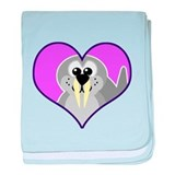 Cute Walrus Goofkins in Heart Infant Blanket