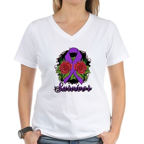 Pancreatic Cancer Women's V-Neck T-Shirt