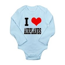 I Heart (Love) Airplanes Long Sleeve Infant Bodysu