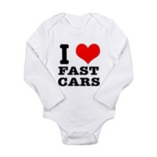 I Heart (Love) Fast Cars Long Sleeve Infant Bodysu