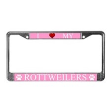 Pink I Love My Rottweilers License Plate Frame