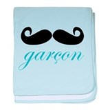 Garcon (Boy) Mustache Infant Blanket