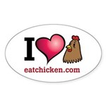 I Love Chicken Sticker (Oval 50 pk)