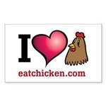 I Love Chicken Sticker (Rectangle 10 pk)