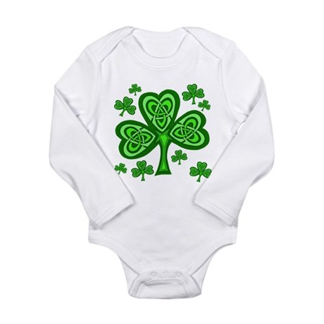 Celtic Shamrocks Long Sleeve Infant Bodysuit