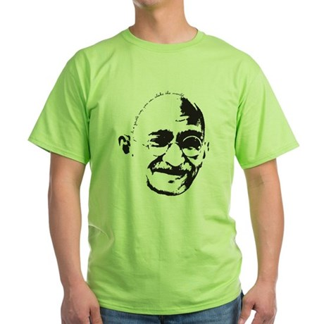 Gandhi Gentle Way Quote Green T-Shirt
