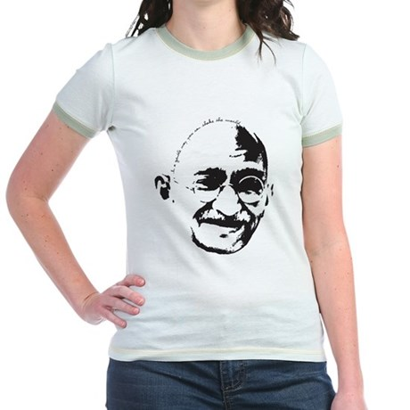 Gandhi Gentle Way Quote Jr. Ringer T-Shirt