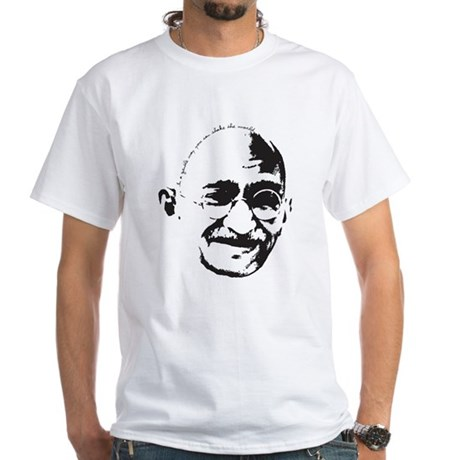 Gandhi Gentle Way Quote White T-Shirt