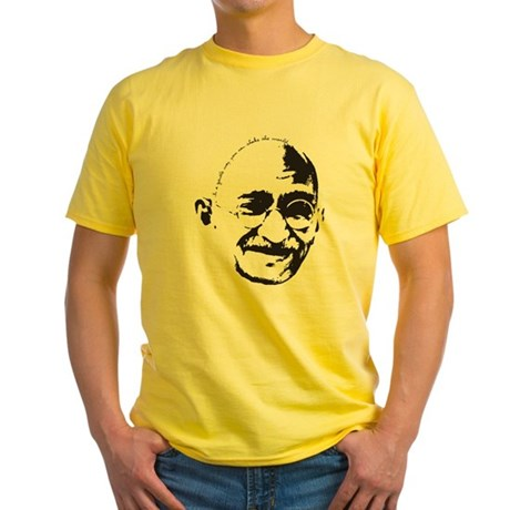 Gandhi Gentle Way Quote Yellow T-Shirt
