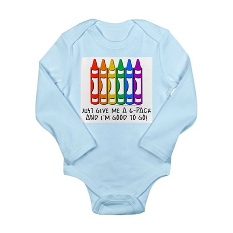 Crayon 6-Pack Long Sleeve Infant Bodysuit