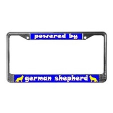 Powered by German Shepherd License Plate Frame