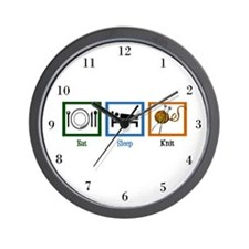 Eat Sleep Knit Wall Clock