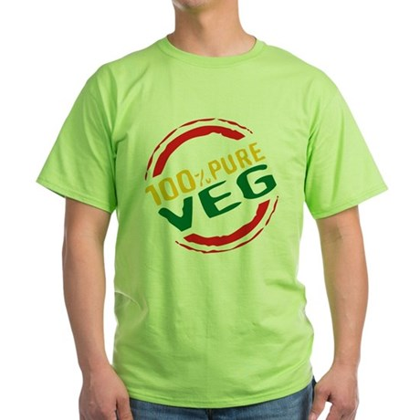 100% Pure Veg Green T-Shirt