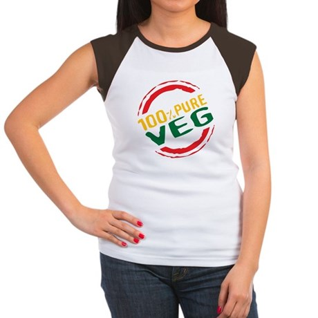 100% Pure Veg Women's Cap Sleeve T-Shirt