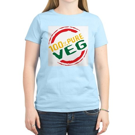100% Pure Veg Women's Pink T-Shirt