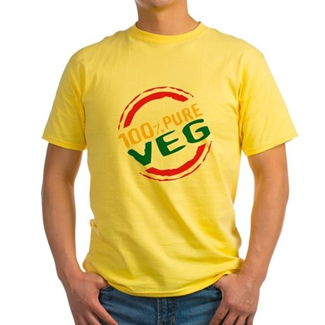 100% Pure Veg Yellow T-Shirt