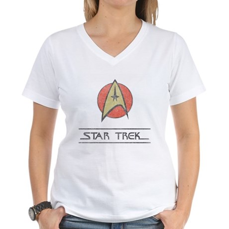 Vintage Star Trek Womens V-Neck T-Shirt