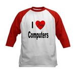 I Love Computers (Front) Kids Baseball Jersey