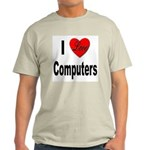 I Love Computers (Front) Ash Grey T-Shirt