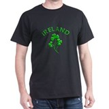 Ireland Luck with Shamrocks Black T-Shirt