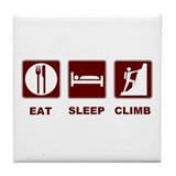 eat sleep climb Tile Coaster
