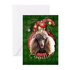 Christmas - Deck the Halls - Poodles Greeting Card