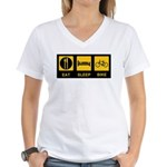 Eat Sleep Bike Women's V-Neck T-Shirt