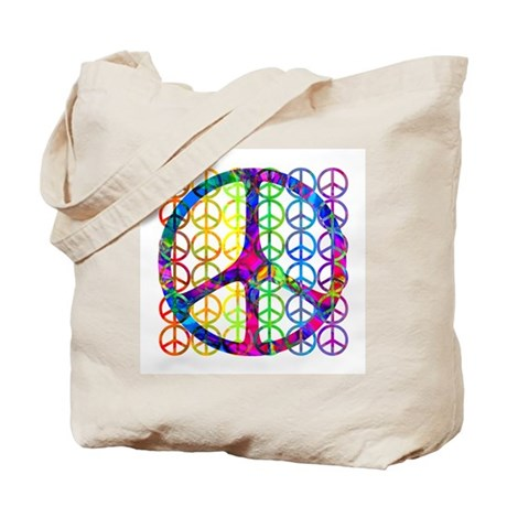 Rainbow Peace Symbols Tote Bag