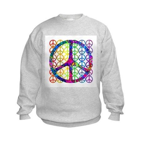 Rainbow Peace Symbols Kids Sweatshirt