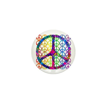 Rainbow Peace Symbols Mini Button (10 pack)