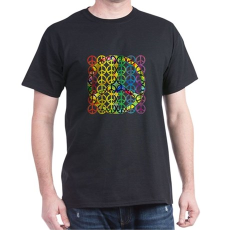 Rainbow Peace Symbols Black T-Shirt