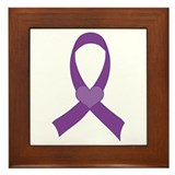 Heart Ribbon Purple Awareness Framed Tile
