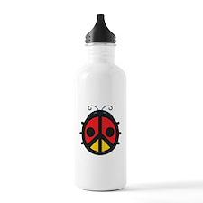 Peace Sign Ladybug Water Bottle