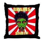 ZOMBIE-BRAINS-SMILE Throw Pillow