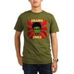ZOMBIE-BRAINS-SMILE Organic Men's T-Shirt (dark)